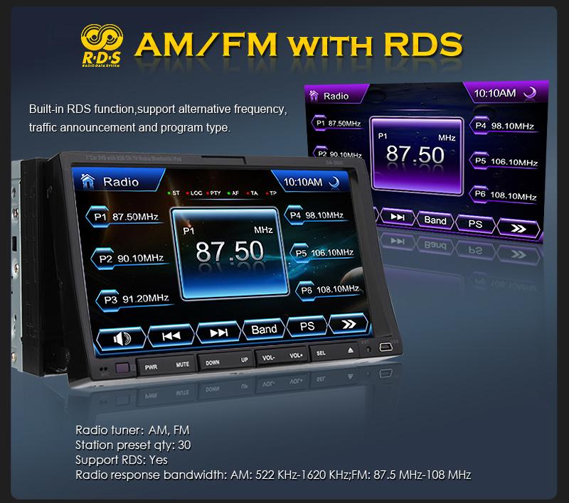 Double 2 DIN Car DVD Player 7Digital Touchscreen TV Bluetooth iPod