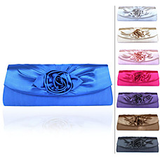 wholesale Gorgeous Shining Satin Shell With Applique Evening Bag Handbag Purse Clutch(0438-6975E23)