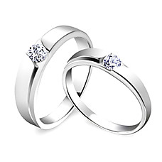 wholesale Amazing 925 Sterling Silver Lovers Rings Set Of 2(0801-HT252)