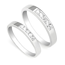 wholesale Amazing 925 Sterling Silver Lovers Rings Set Of 2(0801-HT247)