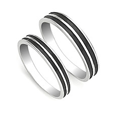 wholesale Amazing 925 Sterling Silver Lovers Rings Set Of 2(0801-HT248)