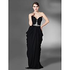 wholesale Sheath/ Column Sweetheart Sweep/ Brush Train Chiffon Over Elastic Satin Evening Dress (FSF08415)