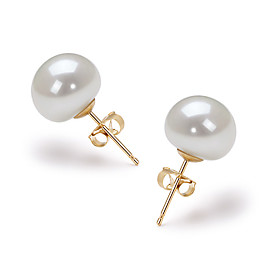 14k Gold White 9.5 - 10mm AAA Freshwater Pearl Earring