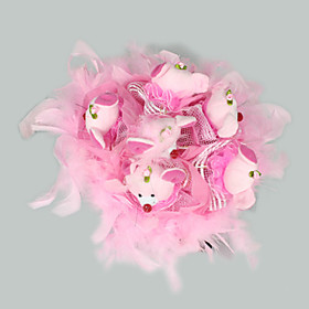 Bridal Wedding Flower Bouquet Soft Plush Bear Pink (TYPJ023)