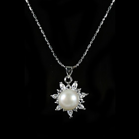 Sterling Silver White AA Freshwater Pearl Pendant With Necklace