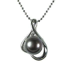 Silver Plated Black AA Freshwater Pearl Pendant With Necklace