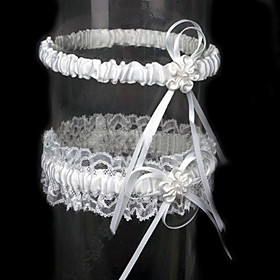 2-Piece Satin With Flower Wedding Garters