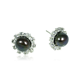 10.5-11mm AA Black Freshwater Pearl Earring