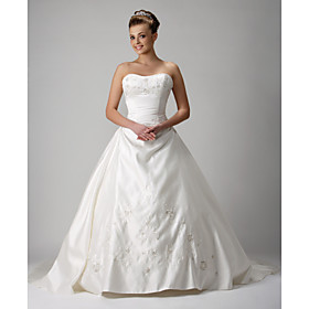 Ball Gown Sweetheart Chapel Train Satin Wedding Dresses for Bride (HSX200)