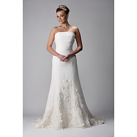 A-line Strapless Sweep/ Rrush Train Chiffon Wedding Dress With 3D Floral