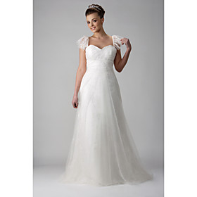 Princess A-line Sweetheart Sweep/ Brush Train Tulle Wedding Dress