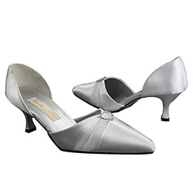 Satin UpperMedium Heel Closed-toes With Rhinestone Wedding Bridal Shoes (A560) .More Colors Available