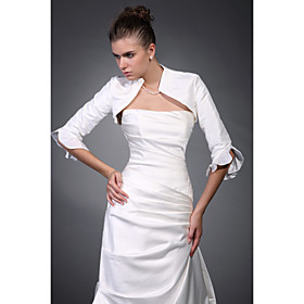 3/ 4-Length Sleeves Sleeves Taffeta Bridal Jacket/ Wedding Wrap