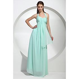 Sheath/ Column Halter Floor-Length Chiffon Over Mading Bridesmaid/ Wedding Party Dress