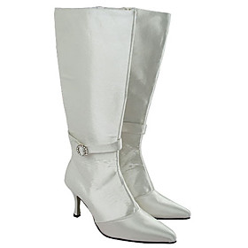 Top Quality Satin Upper High Heel Closed-toes Wedding Boots / Wedding Shoes (MB-035I) More Colors Available