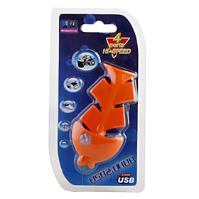 Fish Style 4 Port USB 2.0 Hub (Orange)