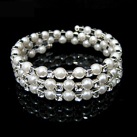 Ladies' Rhinestone Strand/ Tennis Bracelet In White Pearl