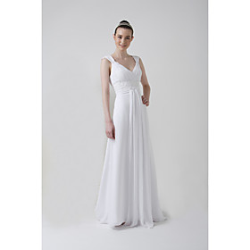 Sheath/ Column V-neck Watteau Train Chiffon Draped Wedding Dress