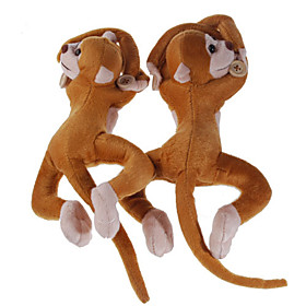 Cute Monkey Curtain Clasps/Holders - Blue Gingham (2-Pack)