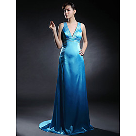Column V-neck Sweep Train Taffeta Evening Dress (HSX338)