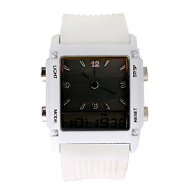 Digital   Analog Dual-Time Mens Wrist Watch with Weekday Display - White (2 CR1120)
