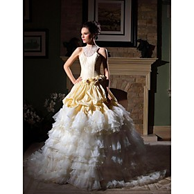Ball Gown Jewel Chapel Train Taffeta Organza Tiered Wedding Dress