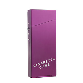 Tall and Thin Metal Cigarette Case (Purple)