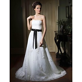 A-line Sweetheart Sweep/ Brush Train Satin Organza Wedding Dress