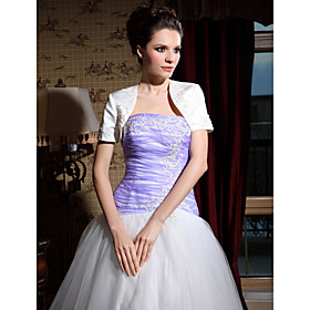 Short Sleeve Satin Beading Bridal Jacket/ Wedding Wrap