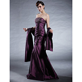 Trumpet/ Mermaid Strapless Floor-length Taffeta Mother of the Bride Dress With A Wrap