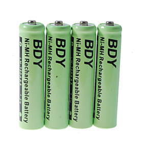 BDY 750mAh Ni-MH AAA Rechargeable Batteries (4-Pack)