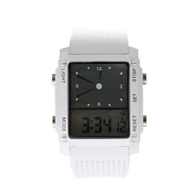 Digital   Analog Dual-Time Ladies Wrist Watch with Weekday Display - White (2 CR1120)