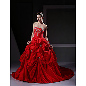 Ball Gown Strapless Sleeveless Taffeta Satin Chapel Train Red Wedding Dress