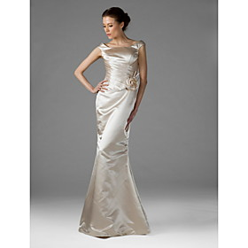 Trumpet/ Mermaid Square Floor-length Satin Bridesmaid/ Wedding Party Dress (HSX133)