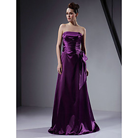 A-line Strapless Floor-length Elastic Satin Bridesmaid/ Wedding Party Dress (HSX164)