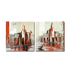 Hand-painted Landscape Oil Painting with Stretched Frame - Set of 2