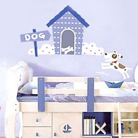 blue dog house Wall Sticker
