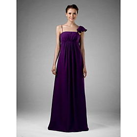 2010 Style Empire Spaghetti Straps Floor-length Sleeveless Chiffon/ Elastic satin Bridesmaid Dress (FHW0531)