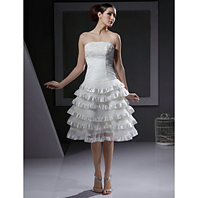 A-line Strapless Knee-length Satin and Organza Tiered Wedding Dress