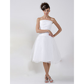 A-line Strapless Knee-length Satin Lace Organza Wedding Dress (HSX1192)