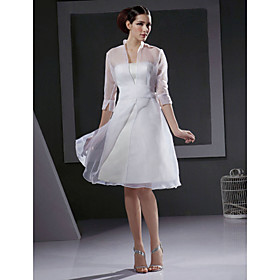 A-line 3/4-length Sleeve Knee-length Satin organza Wedding Dresses for Bride / Reception Dress (HSX1193)