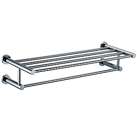 Chrome finished Solid Brass 25 Inch Bathroom Shelf With Towel Bar