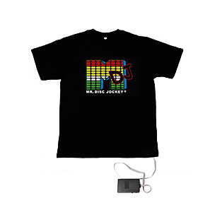 Sound and Music Activated Spectrum VU Meter EL Visualizer T-shirt  (4 AAA)