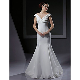 Trumpet/ Mermaid Off-the-shoulder Floor-length Satin Wedding Dress
