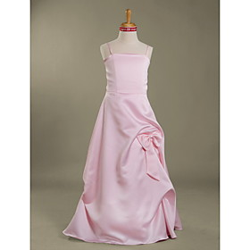 A-line Spaghetti Straps  Floor-length Satin Junior Bridesmaid Dress(WSD0270)