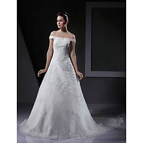 Princess Off-the-shoulder Sweep Train Satin  Lace Wedding Dresses for Bride (HSX1148)