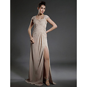 Sheath/  Column Square Floor-length Capped Bridesmaid/ Wedding Party/ Evening Dress (BNSH014)