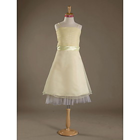A-line Spaghetti Straps Knee-length Satin Organza Junior Bridesmaid Dress