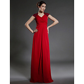 Sheath/ Column Floor-length Chiffon Matte Satin Mother of the Bride Dress