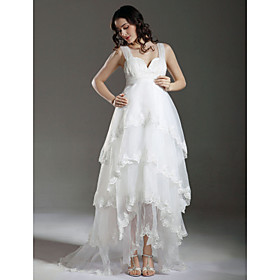 Sheath/ Column Empire Straps Sweep/ Brush Train Satin Organza Maternity Wedding Dress
